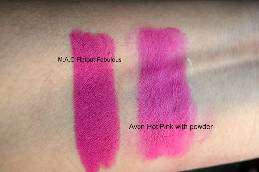 MAC FLAT OUT FABULOUS AND AVON HOT PINK